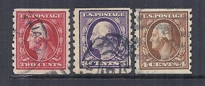 1910-1913 US SC 393-395 Lot of 3, Used VF, 8.5 Perf Coils - Nice Centering*