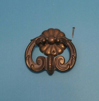 Antique Keeler Brass A9549DC French Provincial Drawer Pull Knocker With Set Pin
