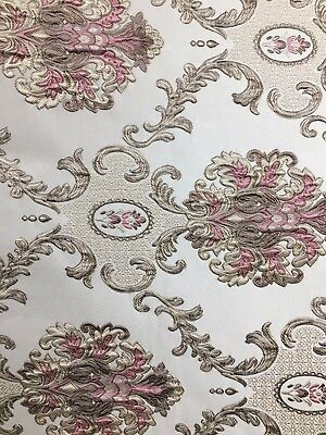 Pink Taupe Damask Brocade Upholstery Drapery Fabric 54 In Sold