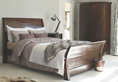 Tyler Reclaimed Wood Hand Crafted Sleigh Bed~Double, King, Superking~Any Colour