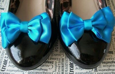 1 PAIR TURQUOISE BLUE SATIN DOUBLE BOW SHOE CLIPS VINTAGE STYLE GLAMOUR 40s 50s