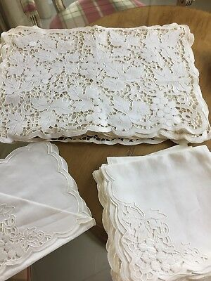 WHITE Embroidered Cutwork 12 Napkins and 12 Placemats LEAVES AND GRAPES