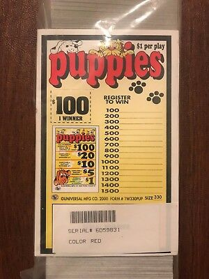 """Puppies"" 1 Window Pull Tab 330 Tickets Payout $235"