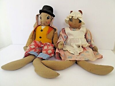 Vintage UNCLE WIGGILY AND NURSE JANE Stuffed Dolls Exceptional