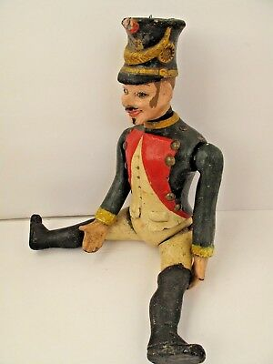 Antique French Soldier Doll Paper Mache Articulated