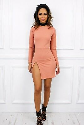 UK New Long Sleeve Mini High Slit Bodycon Mini Dress Glamzam Party Sexy Club