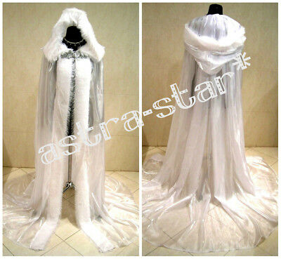 Medieval Wedding Cloak Cape White X-Mas Snow Ice Queen Goth Narnia Witch Costume