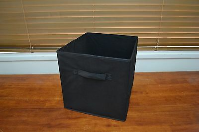 Set of 4 33cm Black Fabric Storage Cube boxes / organizers / baskets / Container