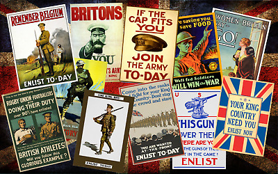 Vintage High Quality Allied WW1 World War I Propaganda Retro Posters A4