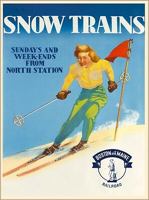 Snow Trains Ski Boston & Maine RR Vintage Travel Advertisement Art Poster Print