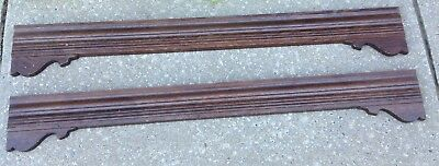 Antique Architectural Panel Oak Wood Trim Set Of 2