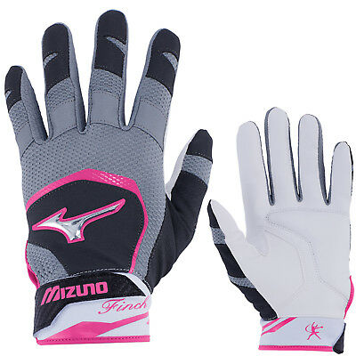 Mizuno Finch Women's Fastpitch Softball Batting Gloves - Black/Pink - XS