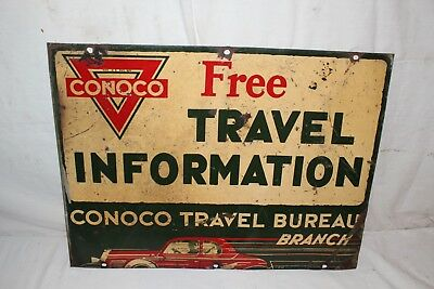 """Rare Vintage 1930's Conoco Gas Station Travel Map Information 24"""" Metal Sign"""