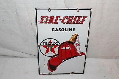 "Rare Size Vintage 1940 Texaco Fire Chief Gas Pump Plate 12"" Porcelain Metal Sign"