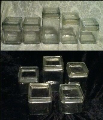 """5 VINTAGE Set Square StackPlastic Seal Clear Glass Canister USA CANADA 4"""" 5"""" 7"""""""