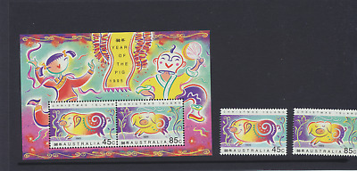 Christmas Island 1995 Year Of Pig Ms & Set 2