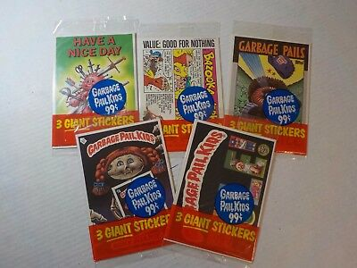 Vintage 1986 Garbage Pail Kids 3 Giant Stickers card pack Sealed Series 2 lot X5