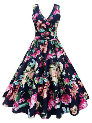 Women's Plus Size Floral Print Vintage Gown Sleeveless Dress Midi Pin Up Dress