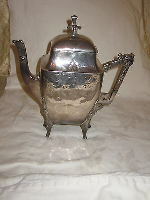 Gorgeous Meriden Aesthetic Movement Teapot Lion Head Art Deco Shape Silver Plate