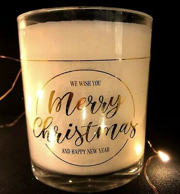 Candle Transparent Labels with Gold Foil Writing  -  Christmas