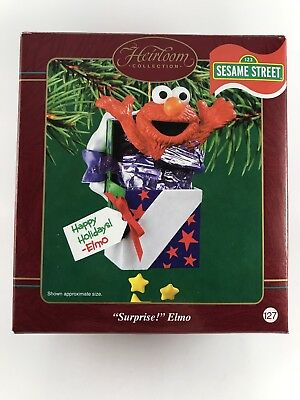 "2003 Carlton Cards Sesame Street ""Surprise! Elmo"" Christmas Ornament Heirloom"