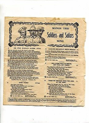 VINTAGE WW1 SONGS THE SOLDIERS & SAILORS SING WW1 Leo Feist Army Navy