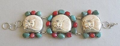 """Great Cat Lover's Bracelet! 3 Carved Bone Cats; Sterling; Turquoise; Coral; 7-8"""""""