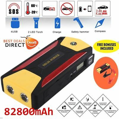 82800mAh Car Jump Start Portable Charger Booster Power Bank Battery LED Torch EE