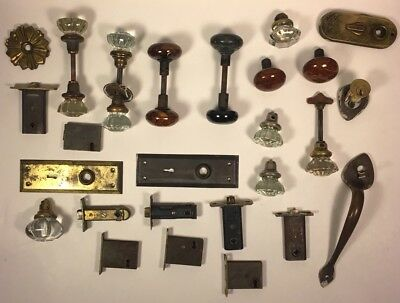 Antique Porcelain & Glass Door Knob Lot W/ Accessories