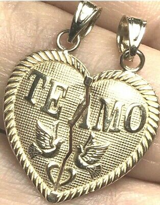 "GOLD Te Amo TeAmo 14k Heart Broken Yellow Pendant Charm 2 Pc Split 1.05"" 2.4g"