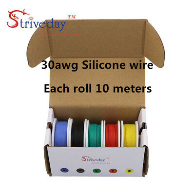50m/box 30AWG Rubber Silicone Wire 5 colors Mix set Tinned Copper Wire 10 m/roll