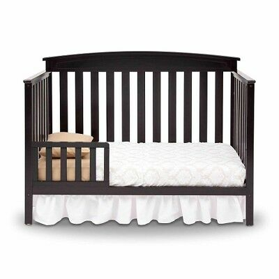 Convertible Baby Crib Black 4 in 1 Toddler Bed Headboard Full Daybed