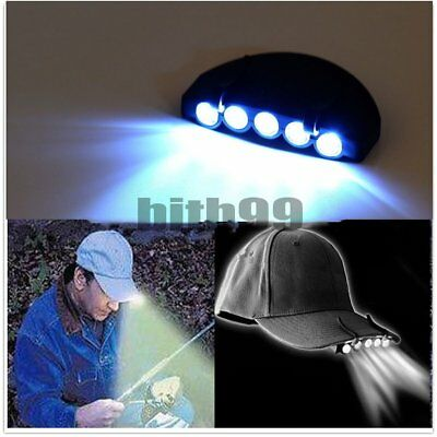 Clip-On 5 LED Head Lights Lamp Cap Hat Camping Torch with Clip Hand Free FN