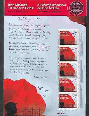CANADA 2015 LEST WE FORGET YPRES & FLANDERS  SHT of 5 MNH