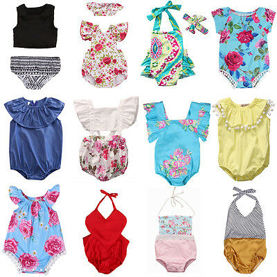 Toddler Newborn Baby Girl Floral Romper Bodysuit Jumpsuit Outfit Sunsuit Clothes