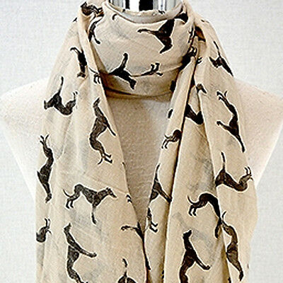 Greyhound Scarf - Whippet Galgo Sighthound - Scarves - Beige and Black