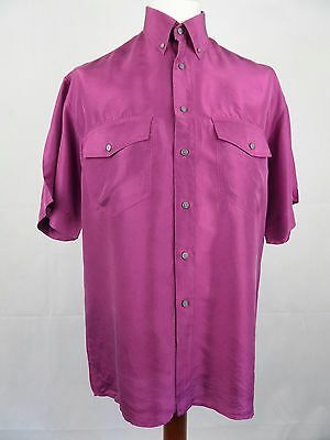 Vtg S-Sleeve Floaty Flouncy Purple Baggy Silk Shirt Indie Urban -L- DZ43