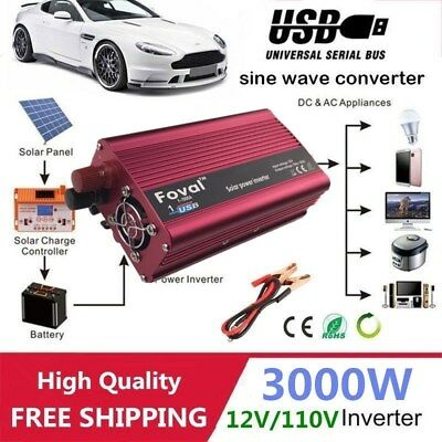 Modified Sine Wave Power Inverter 3000W (6000W Max) DC12V-AC110V Car Home DP