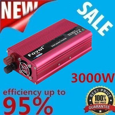 3000W WATT Car Power Inverter DC12V to AC 110V Dual Converter Charger LS