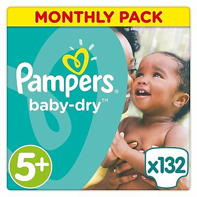 Pampers Baby Dry Monthly Pack - 132 Nappies - Size 5+ Junior Plus 13-25 Kg