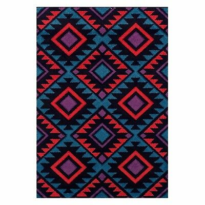 Geometric BLACK RED BLUE Abstract Easycar Modern Contemporary NonShed Rug Runner