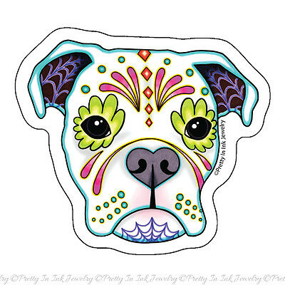 White Boxer Sticker - Day of the Dead Dog Clear Vinyl Decal Muertos Sugar Skull