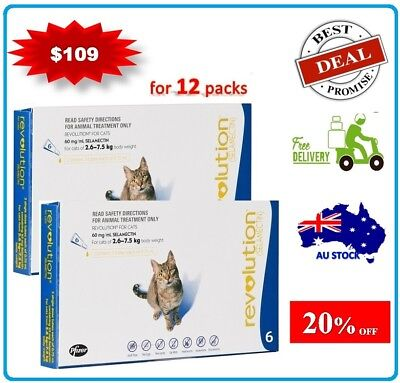 Revolution For Cats Flea Treatment 2.6 - 7.5kg  12 Pack Brand New