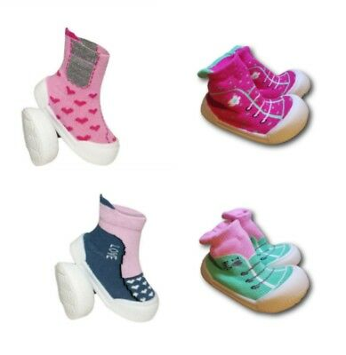 Baby Infant Girl Indoor Non Slip Socks Slippers With Rubber Sole Size 4-6 UK