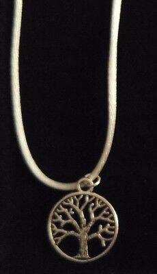Antique Silver Tree of Life Charm Pendant with White Cotton Necklace - Cute Gift