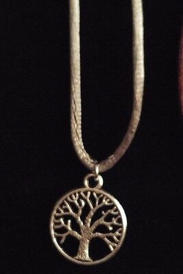 Cute Antique Silver Tree of Life Charm Pendant with Grey Cotton Necklace Gift