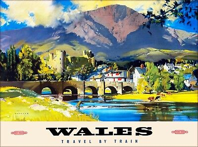 Wales Great Britain United Kingdom By Train Vintage Railroad Travel Poster