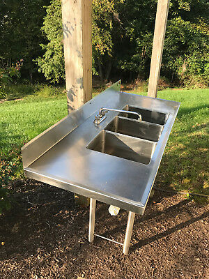 Amtekco Stainless Steel 3 Compartment Sink w 2 Drainboards