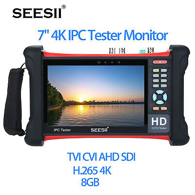 "7"" 4K IPC Camera CCTV HD Tester Monitor TVI CVI AHD SDI CVBS Onvif Test Video"
