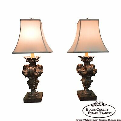 Antique Pair of Italian Gilt Wood Lamps Converted from Candle Prickets